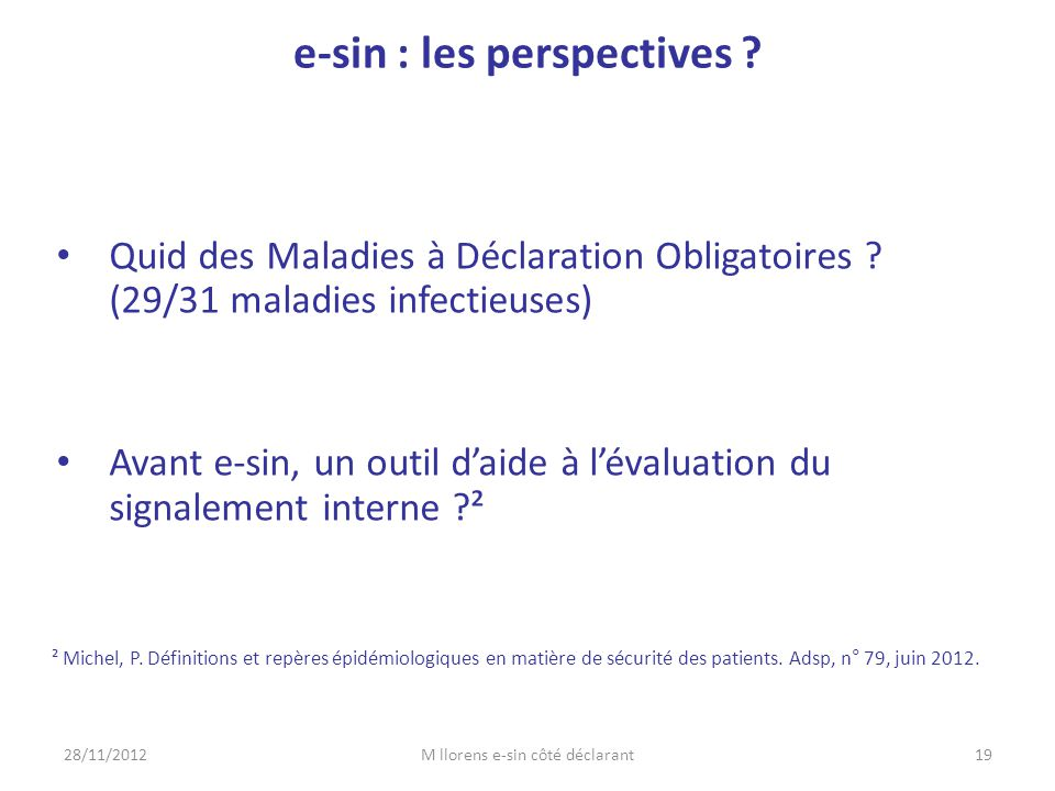 e-sin : les perspectives