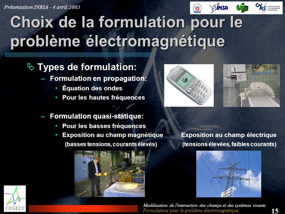 Choix de la formulation pour le problème électromagnétique