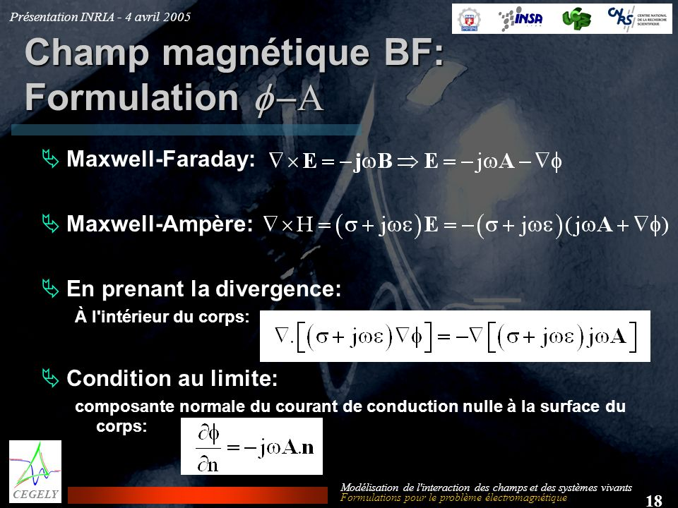 Champ magnétique BF: Formulation f -A