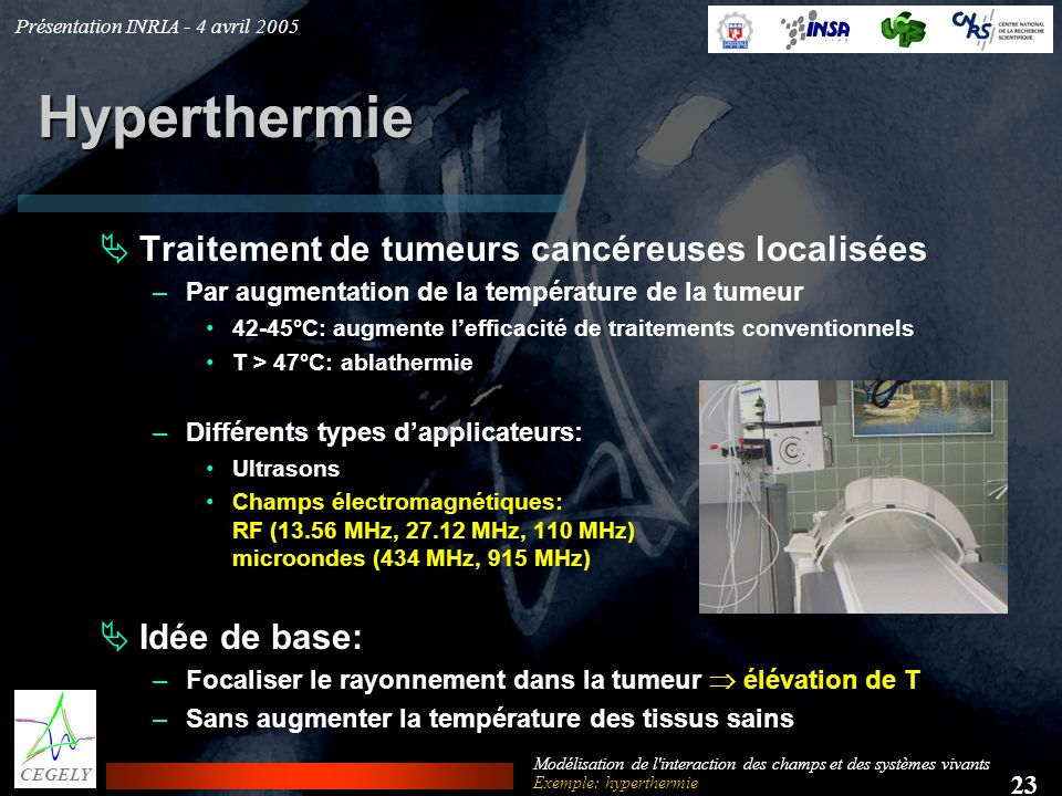 Hyperthermie Traitement de tumeurs cancéreuses localisées