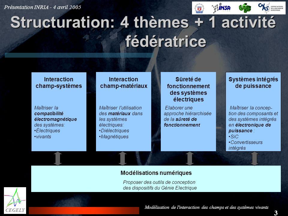 Structuration: 4 thèmes + 1 activité fédératrice