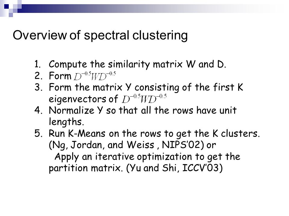 Overview of spectral clustering