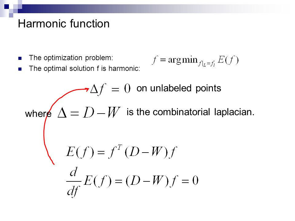 Harmonic function on unlabeled points is the combinatorial laplacian.