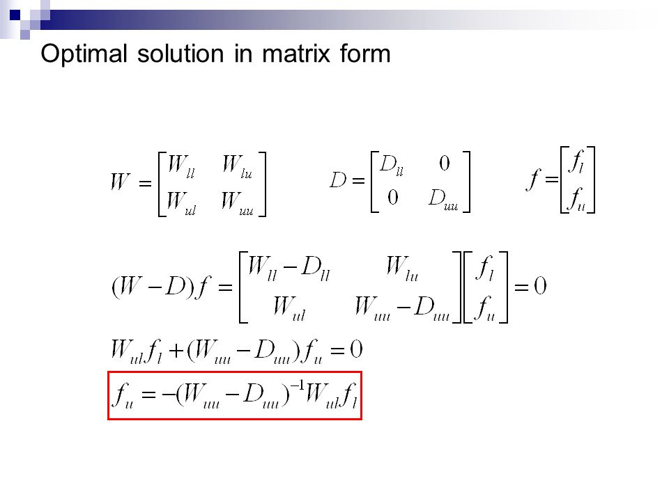 Optimal solution in matrix form