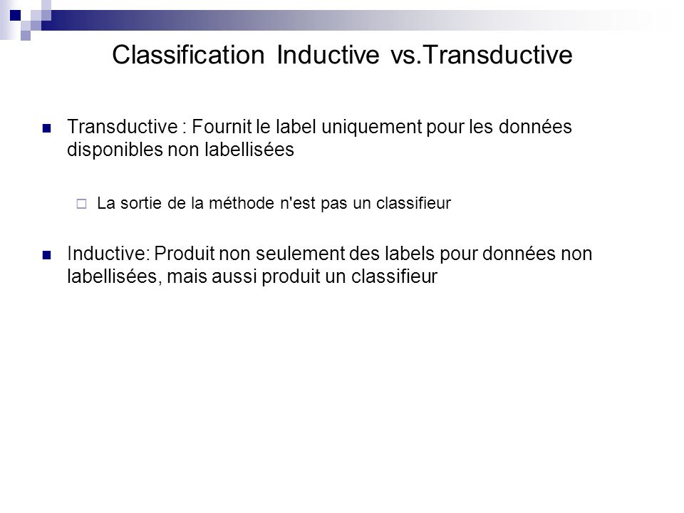 Classification Inductive vs.Transductive