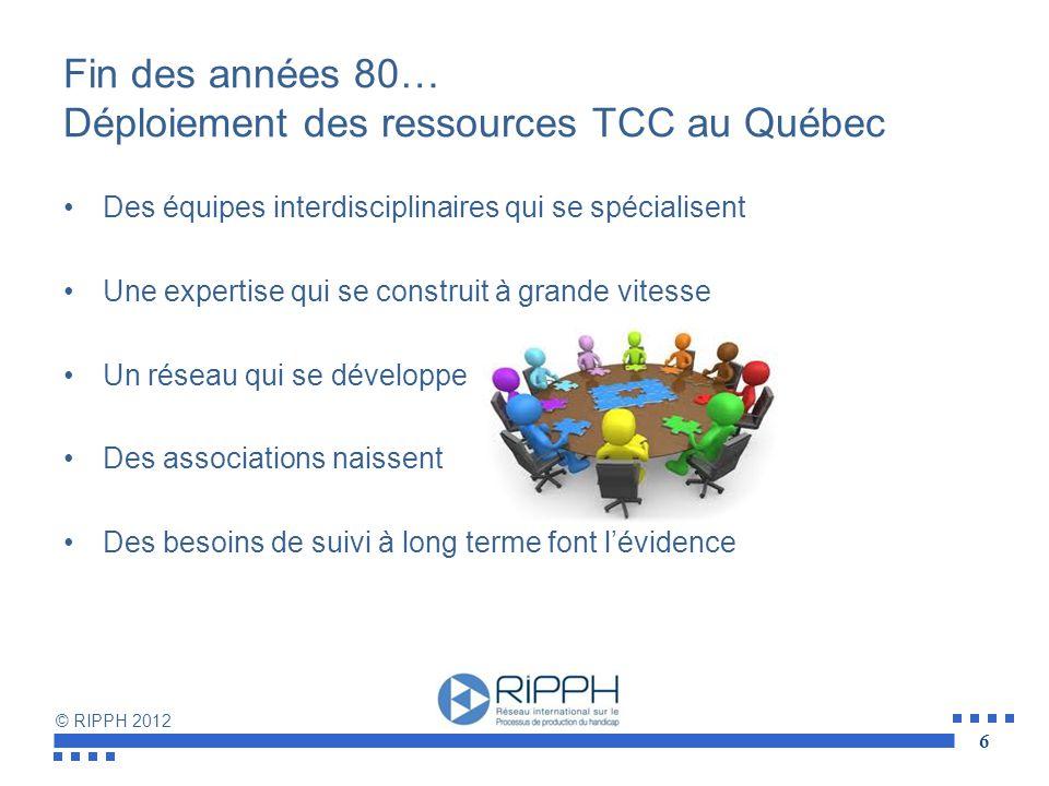 Fin des années 80… Déploiement des ressources TCC au Québec