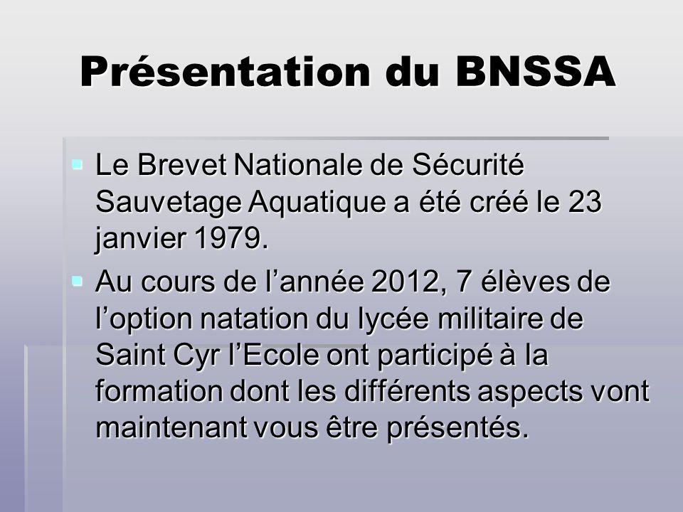 Présentation du BNSSA Le Brevet Nationale de Sécurité Sauvetage Aquatique a été créé le 23 janvier 1979.