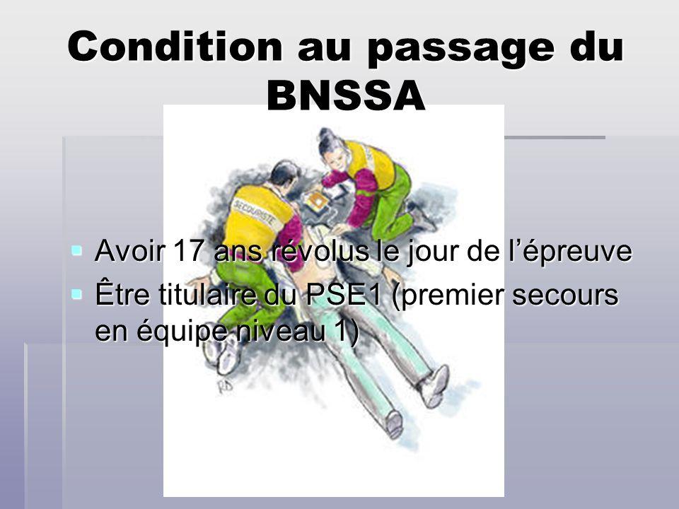 Condition au passage du BNSSA
