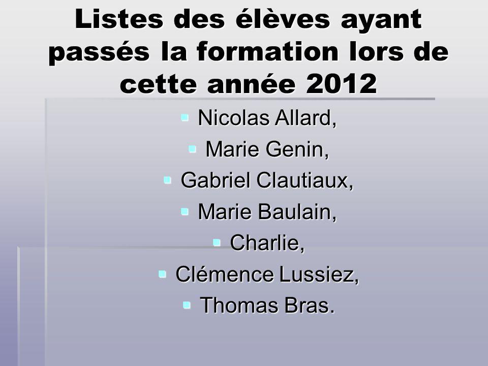 Listes des élèves ayant passés la formation lors de cette année 2012