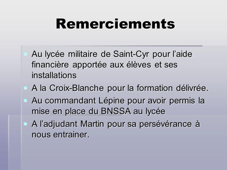 Remerciements Au lycée militaire de Saint-Cyr pour l'aide financière apportée aux élèves et ses installations.
