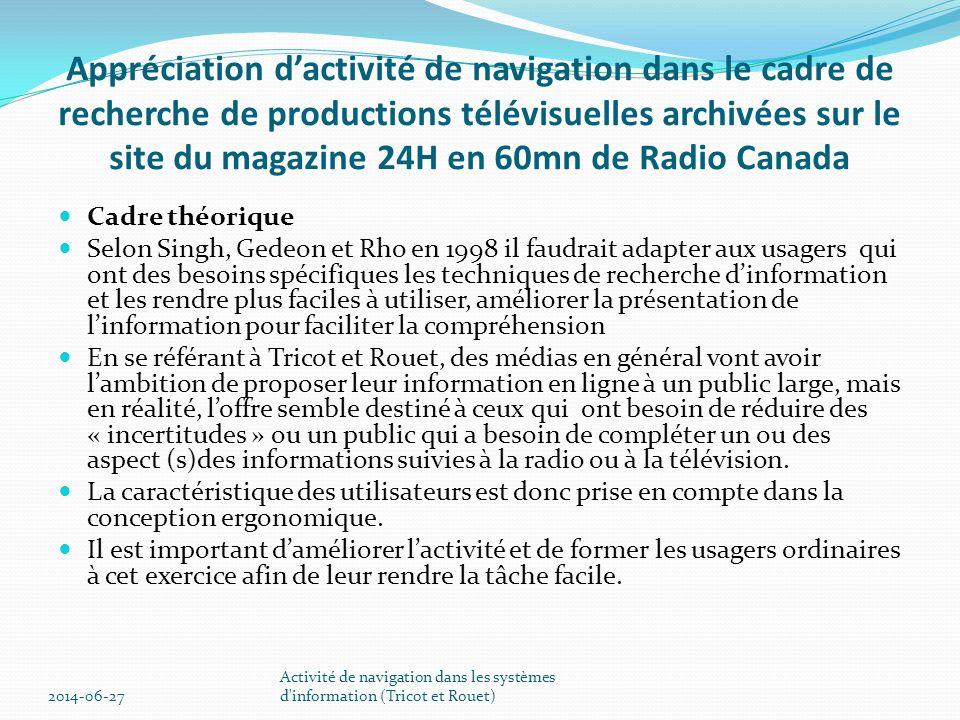 Appréciation d'activité de navigation dans le cadre de recherche de productions télévisuelles archivées sur le site du magazine 24H en 60mn de Radio Canada