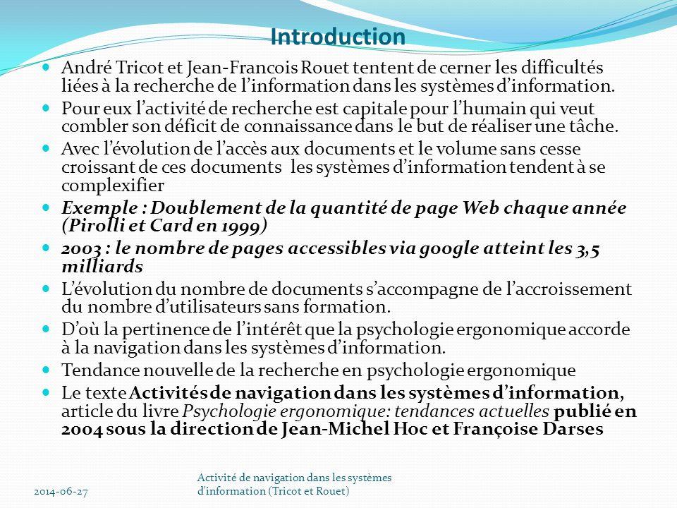 Activité de navigation dans les systèmes d information (Tricot et Rouet)