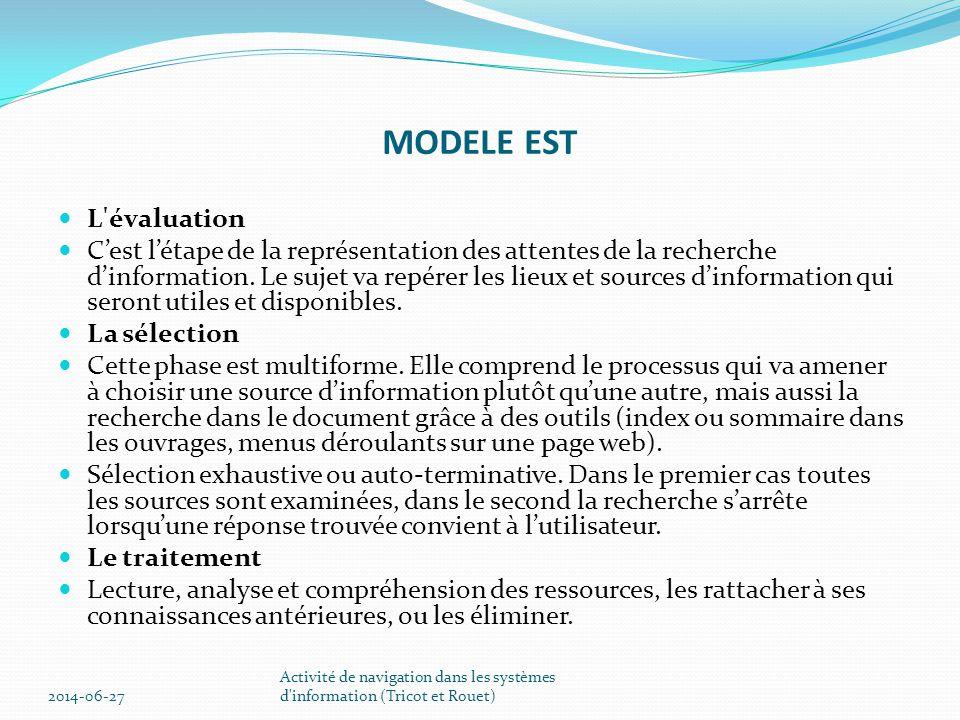 MODELE EST L évaluation