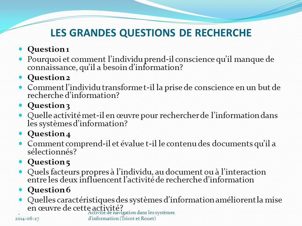 LES GRANDES QUESTIONS DE RECHERCHE