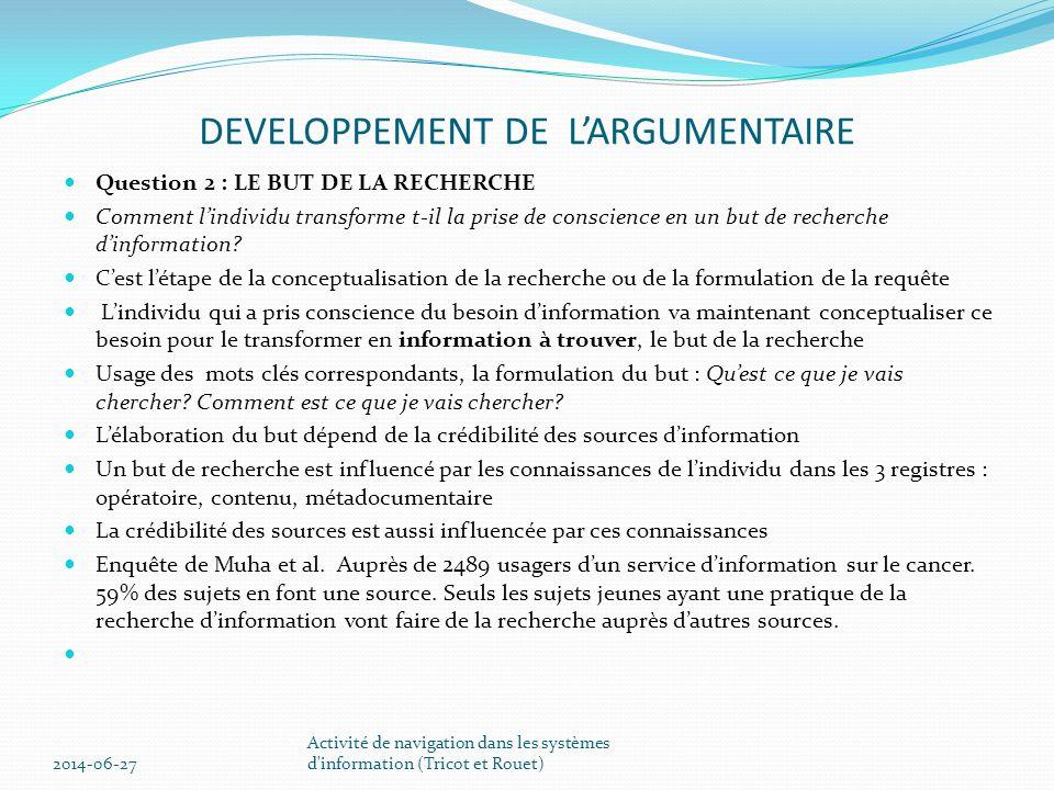 DEVELOPPEMENT DE L'ARGUMENTAIRE