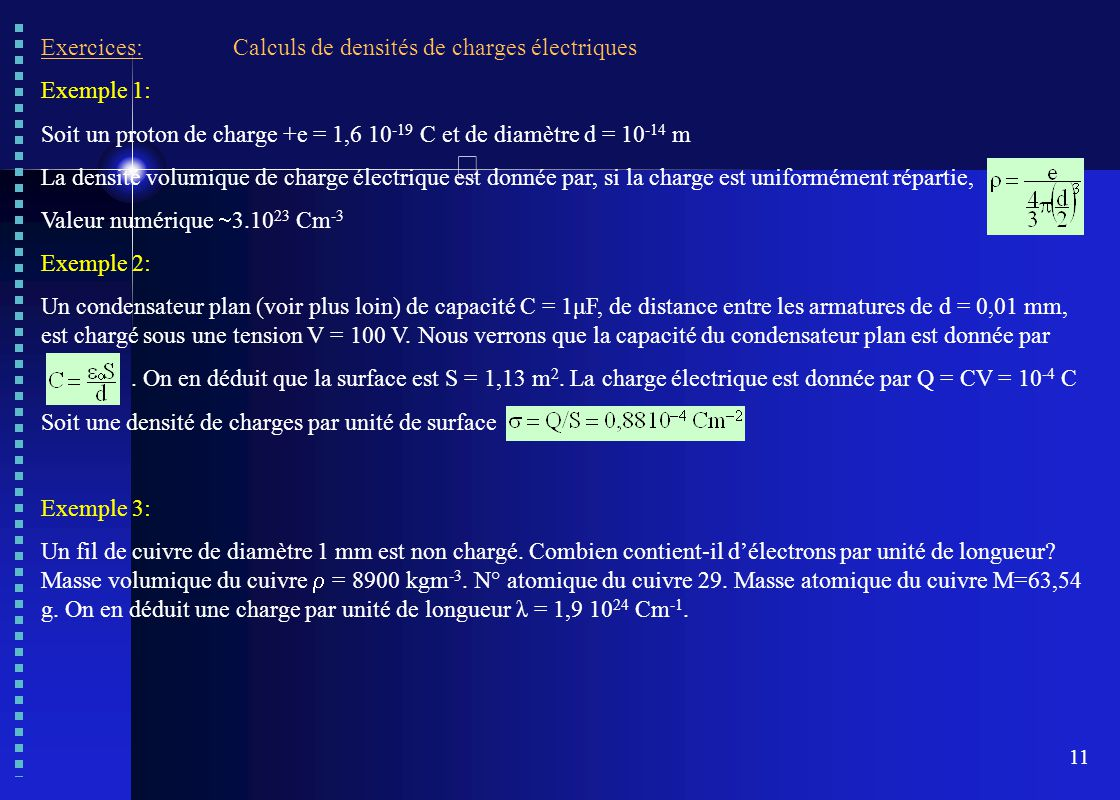 Exercices: Calculs de densités de charges électriques