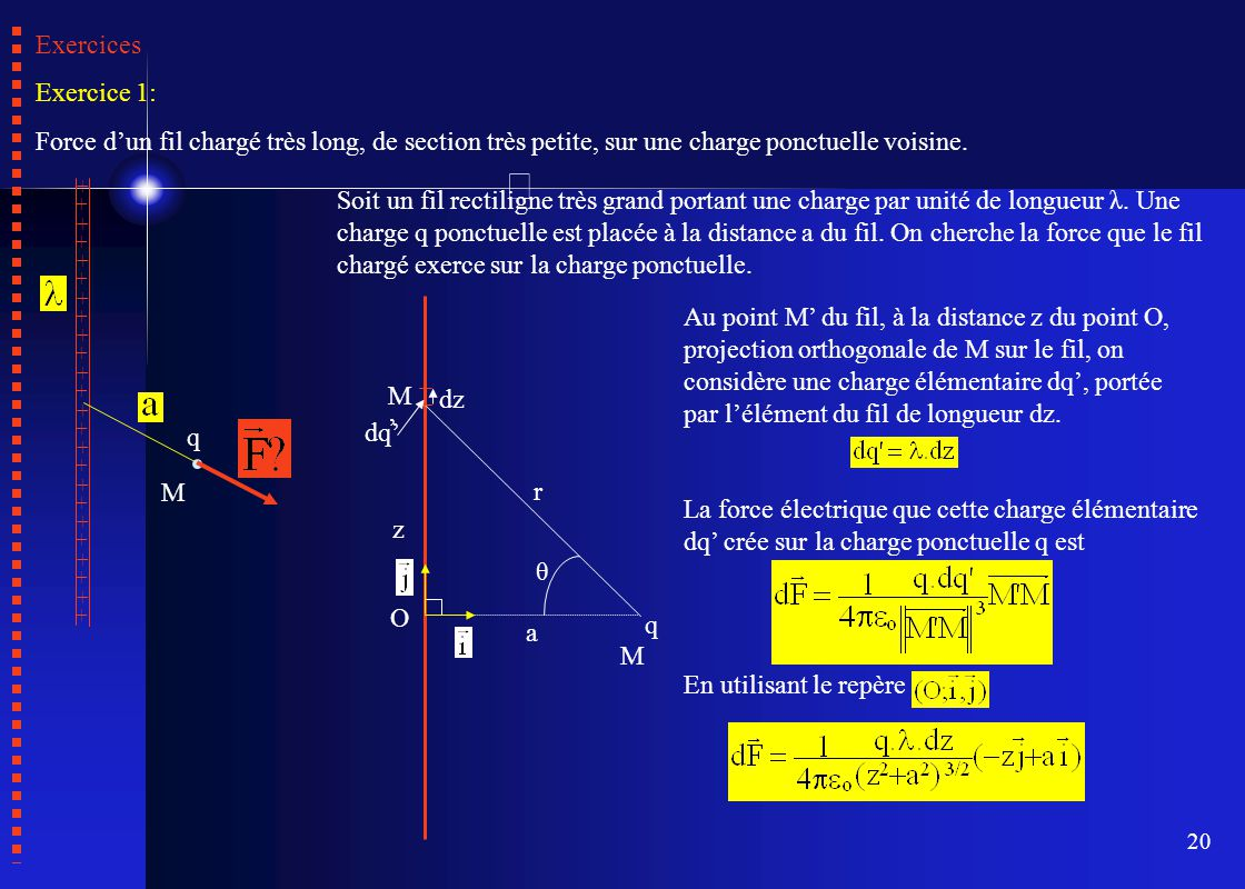 Exercices Exercice 1: Force d'un fil chargé très long, de section très petite, sur une charge ponctuelle voisine.