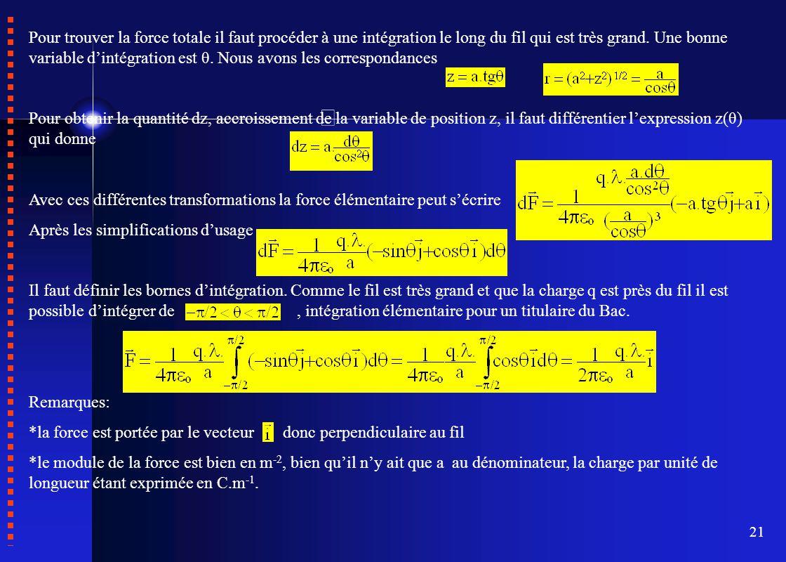 Pour trouver la force totale il faut procéder à une intégration le long du fil qui est très grand. Une bonne variable d'intégration est θ. Nous avons les correspondances