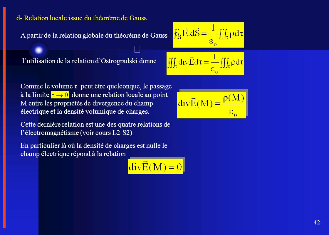d- Relation locale issue du théorème de Gauss