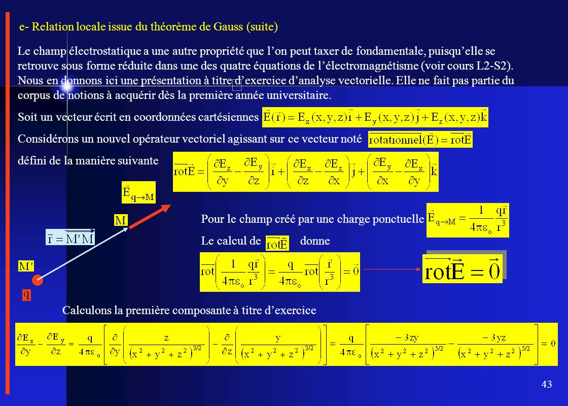 e- Relation locale issue du théorème de Gauss (suite)