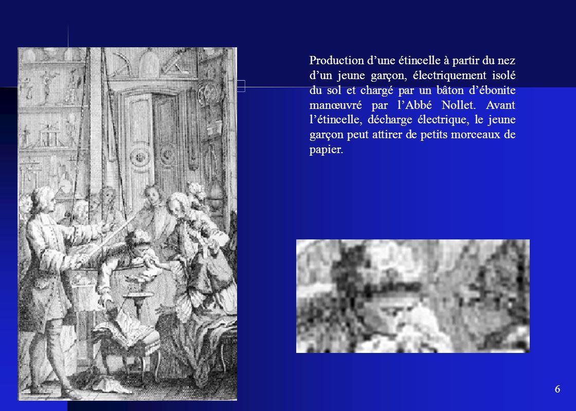 Production d'une étincelle à partir du nez d'un jeune garçon, électriquement isolé du sol et chargé par un bâton d'ébonite manœuvré par l'Abbé Nollet.