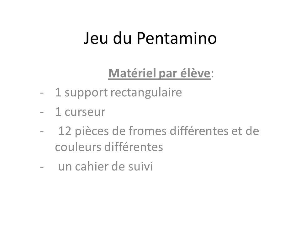 Jeu du Pentamino Matériel par élève: 1 support rectangulaire 1 curseur