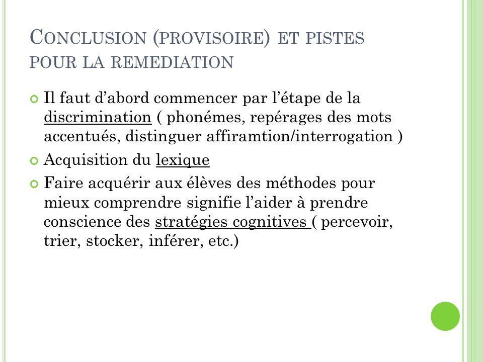 Conclusion (provisoire) et pistes pour la remediation