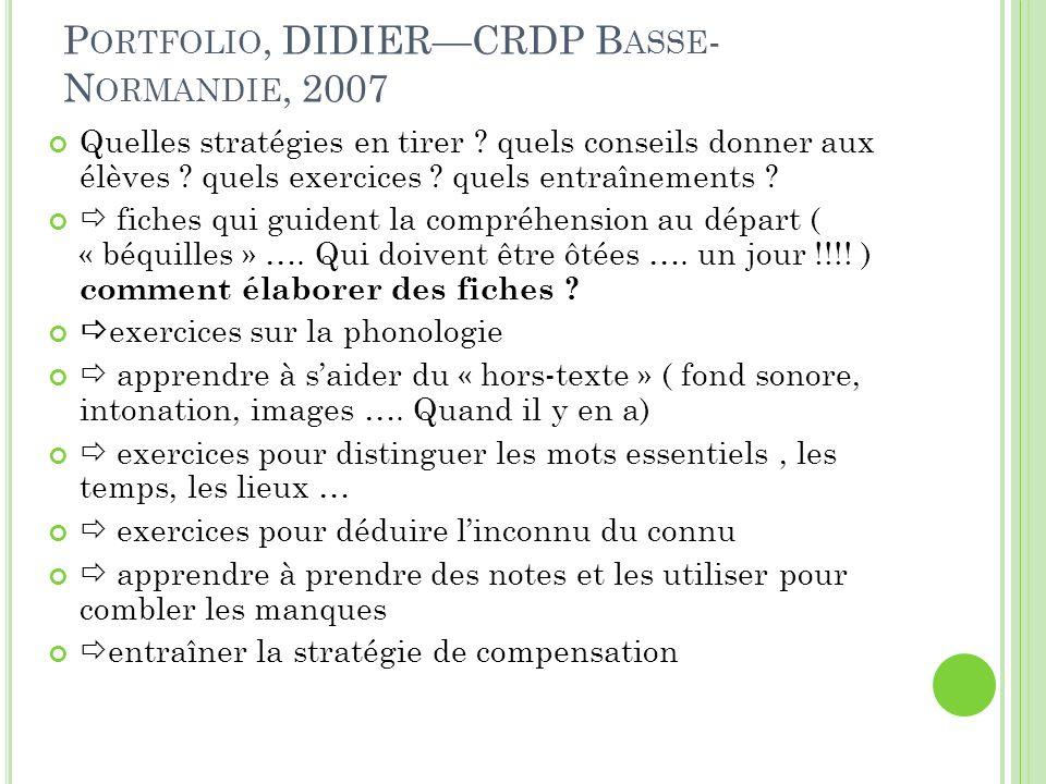 Portfolio, DIDIER—CRDP Basse-Normandie, 2007
