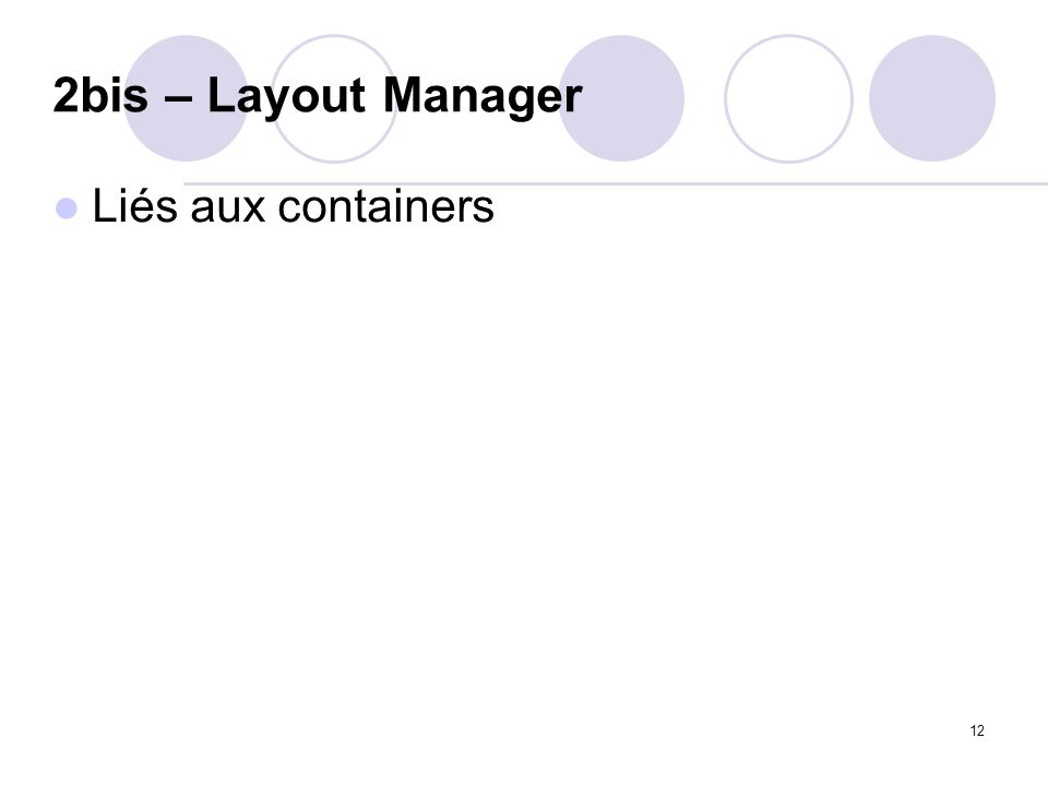 2bis – Layout Manager Liés aux containers