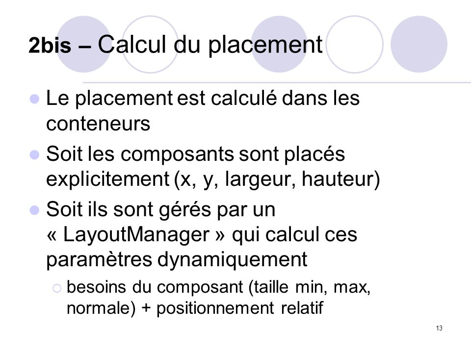2bis – Calcul du placement
