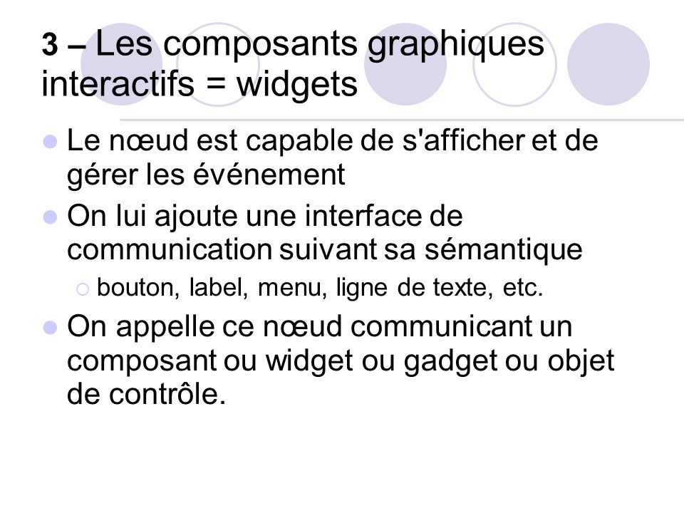 3 – Les composants graphiques interactifs = widgets