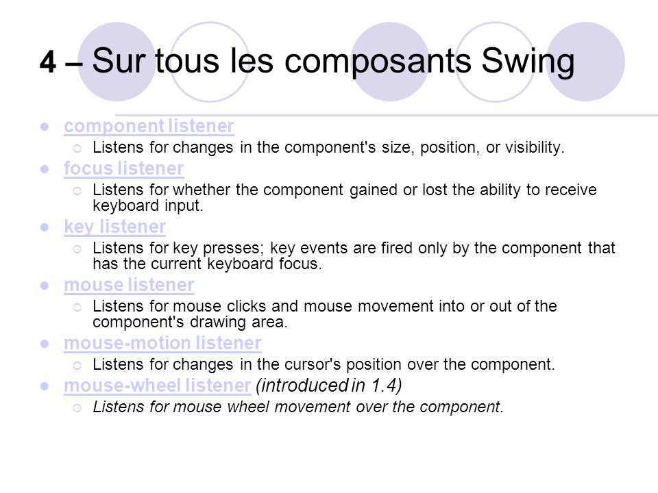 4 – Sur tous les composants Swing