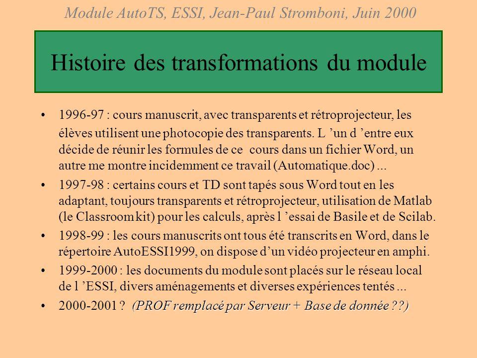 Histoire des transformations du module