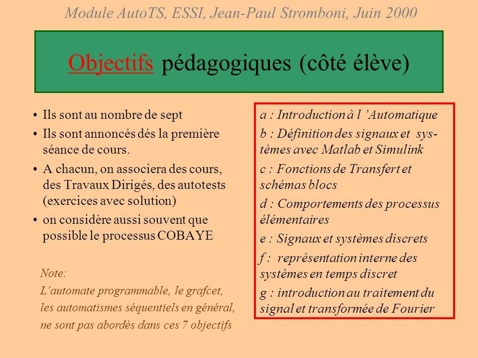 Objectifs pédagogiques (côté élève)