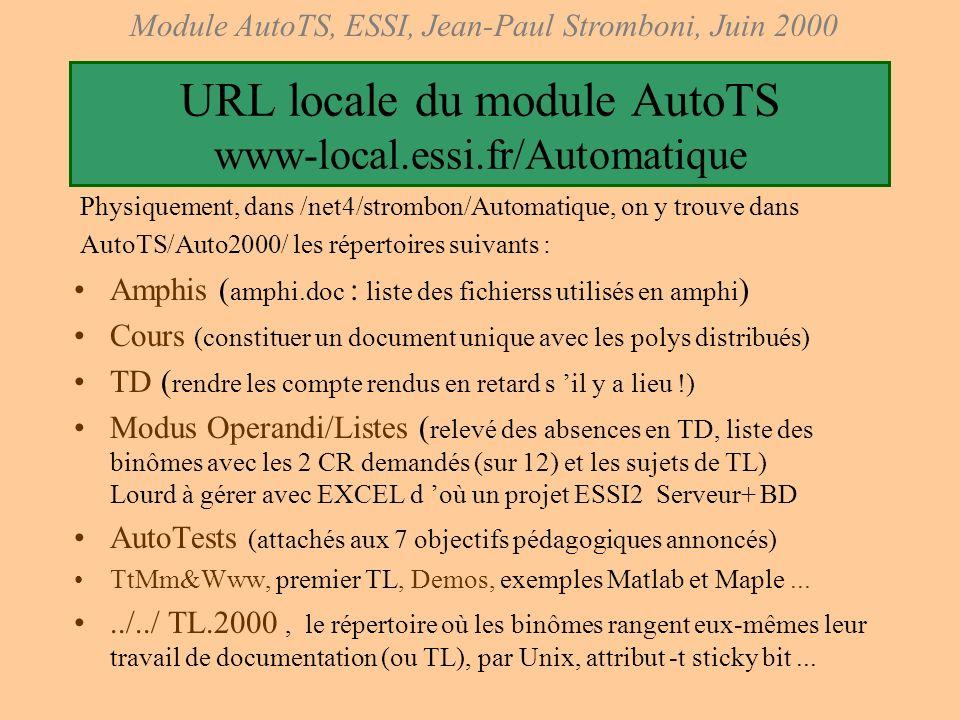 URL locale du module AutoTS www-local.essi.fr/Automatique