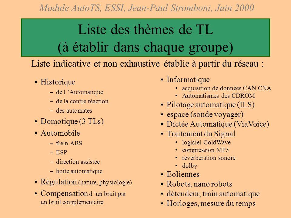 Liste des thèmes de TL (à établir dans chaque groupe)