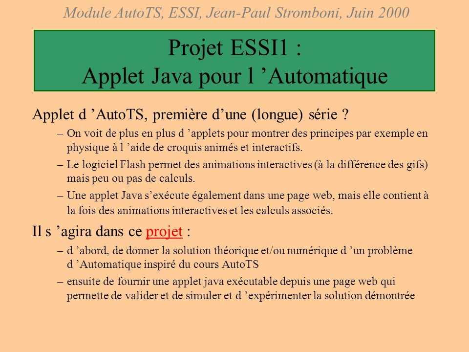Projet ESSI1 : Applet Java pour l 'Automatique