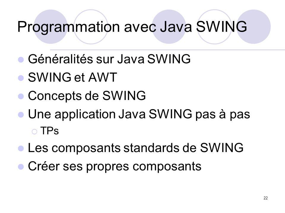 Programmation avec Java SWING