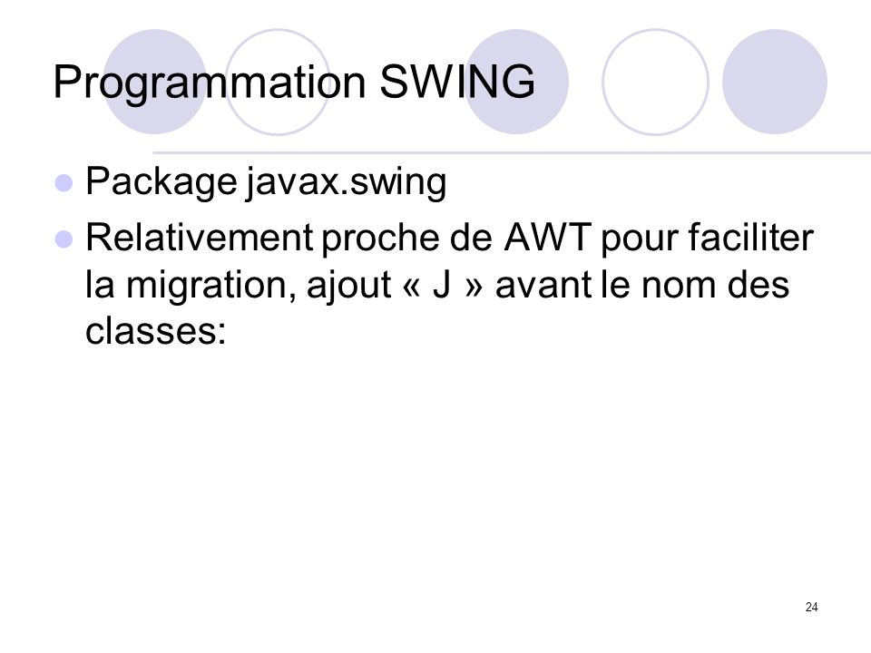 Programmation SWING Package javax.swing