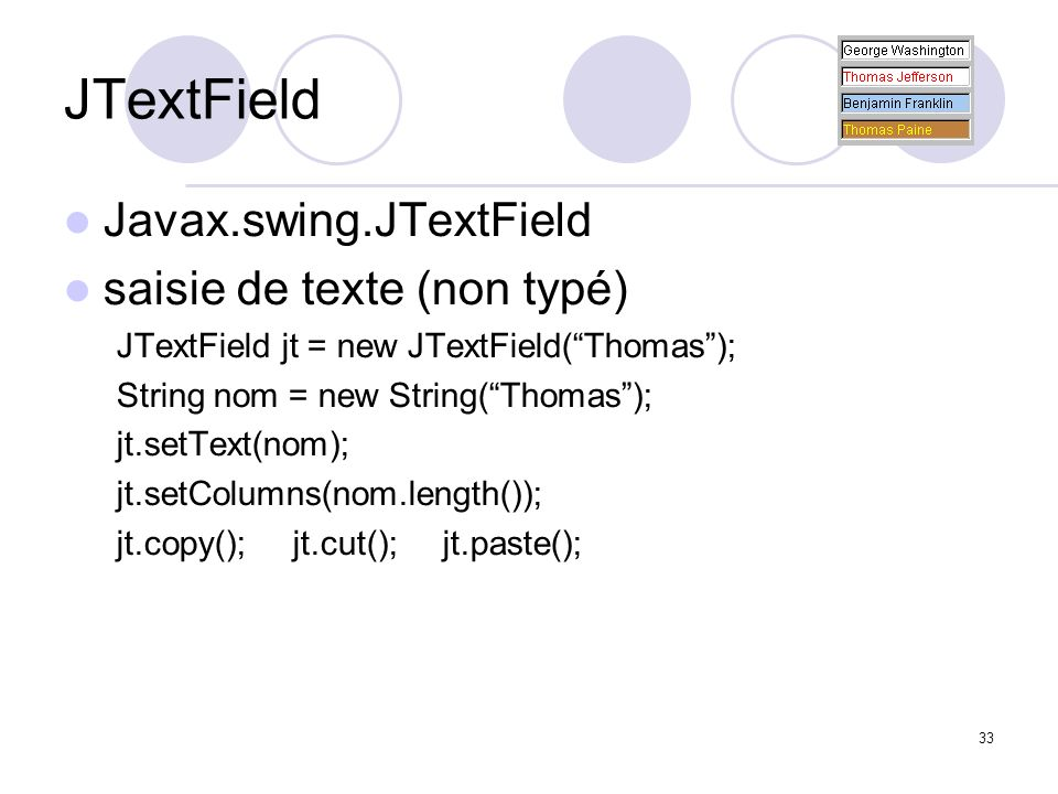 JTextField Javax.swing.JTextField saisie de texte (non typé)