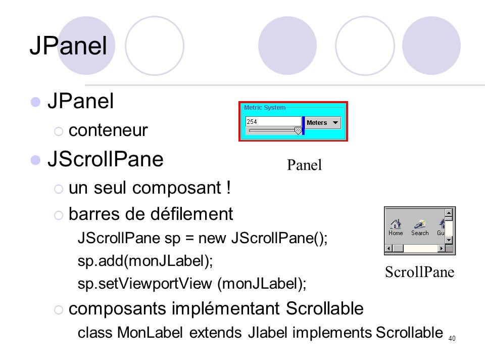 JPanel JPanel JScrollPane conteneur un seul composant !