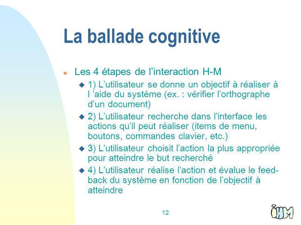 La ballade cognitive Les 4 étapes de l'interaction H-M