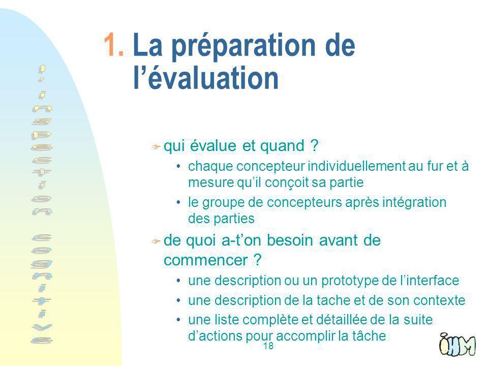 1. La préparation de l'évaluation