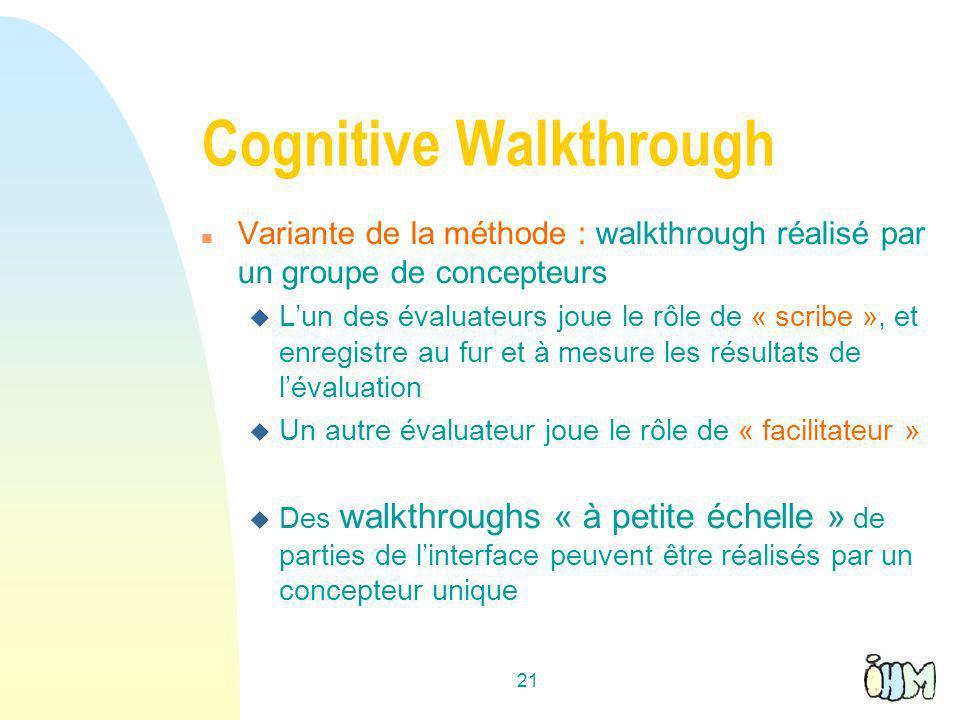Cognitive Walkthrough