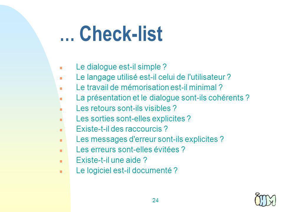 … Check-list Le dialogue est-il simple
