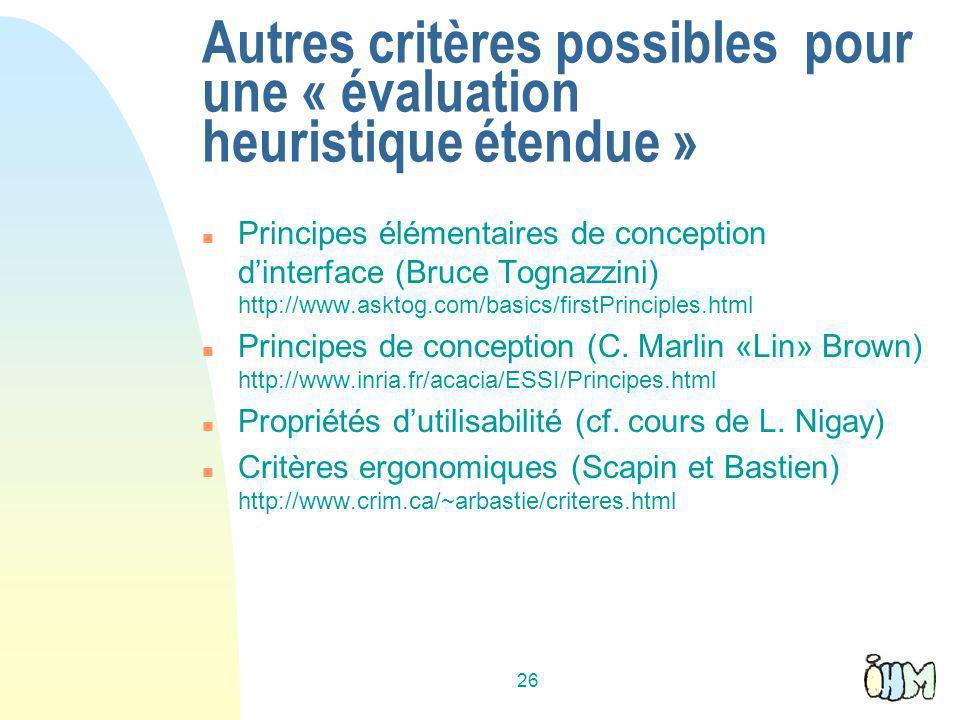 Autres critères possibles pour une « évaluation heuristique étendue »