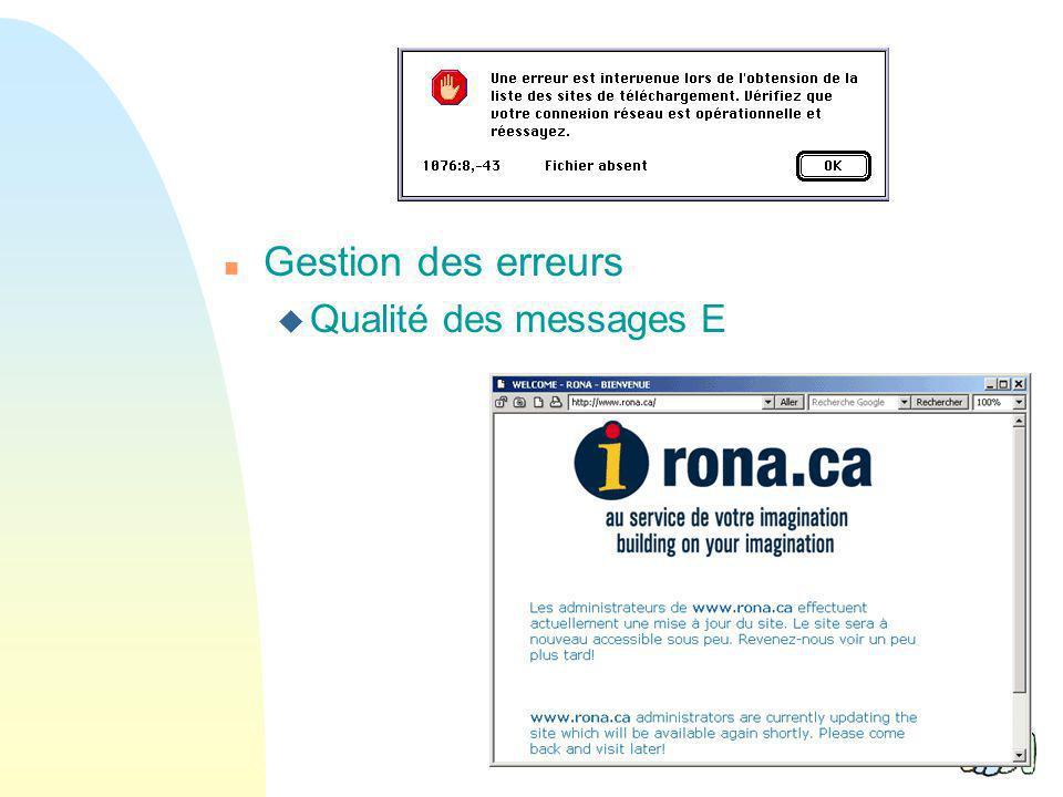 Gestion des erreurs Qualité des messages E 38