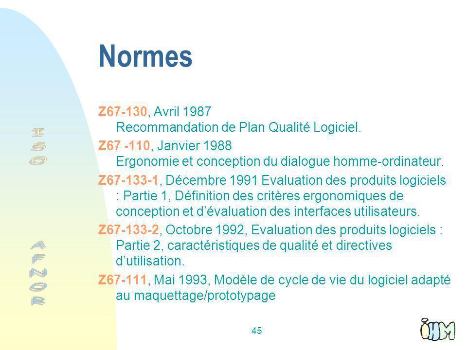 Normes Z67-130, Avril 1987 Recommandation de Plan Qualité Logiciel. Z67 -110, Janvier 1988 Ergonomie et conception du dialogue homme-ordinateur.