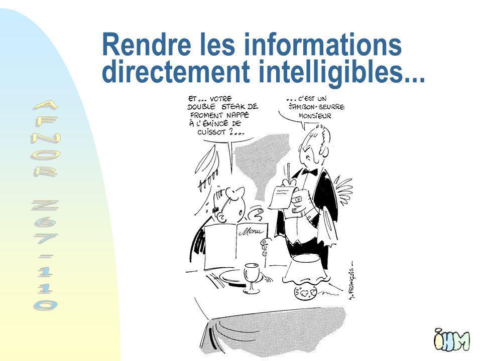Rendre les informations directement intelligibles...