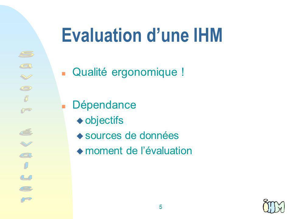 Evaluation d'une IHM Savoir évaluer Qualité ergonomique ! Dépendance